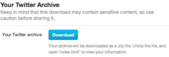 Twitter Archive Download page