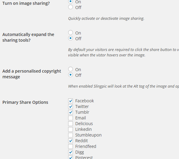 Slingpic Options - Social Sharing Buttons for Images