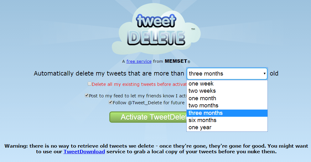 Tweetdelete - Delete All My Tweets