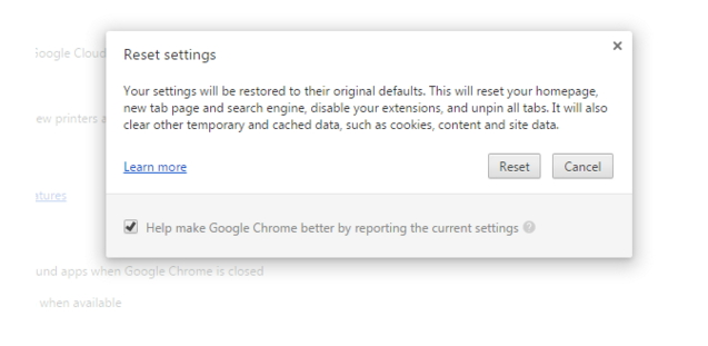 Reset google chrome Setting