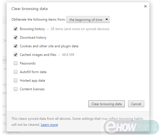Clear Browsing Data from Chrome
