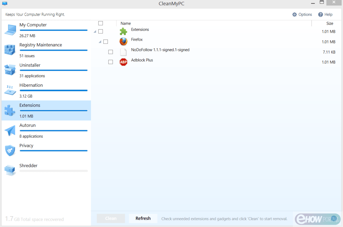 Extension option on CleanMyPC