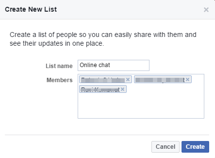 Facebook create New list