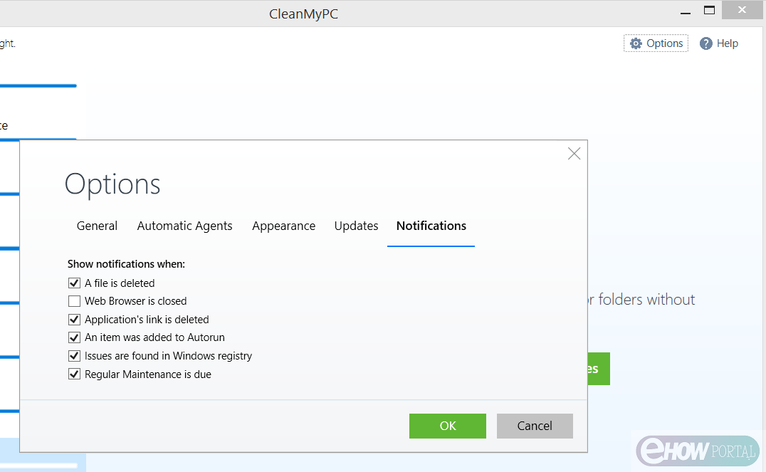 Notification option in CleanMyPC