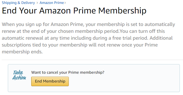 End your Amazon Prime Membership