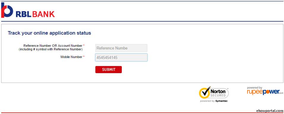 RBI bank online application form
