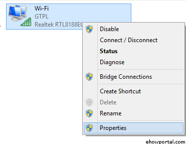 Wireless and Choose the Properties.