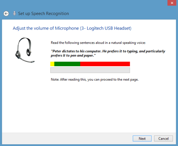 A speech recognition system test in Windows 8.1.