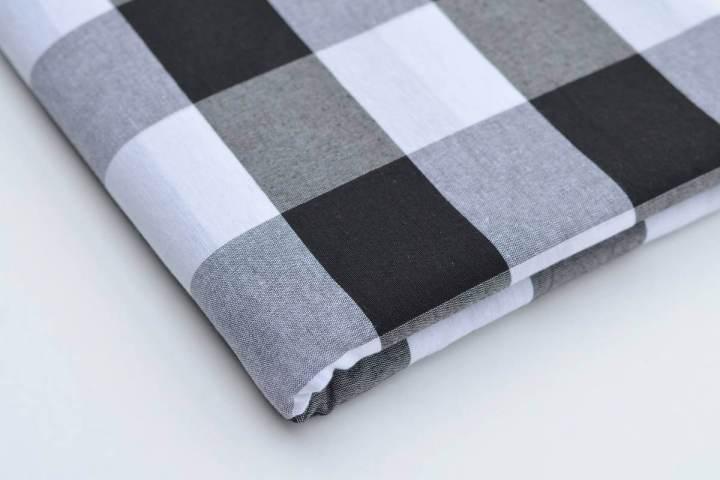 White Black Gingham Cotton/Polyester Blend