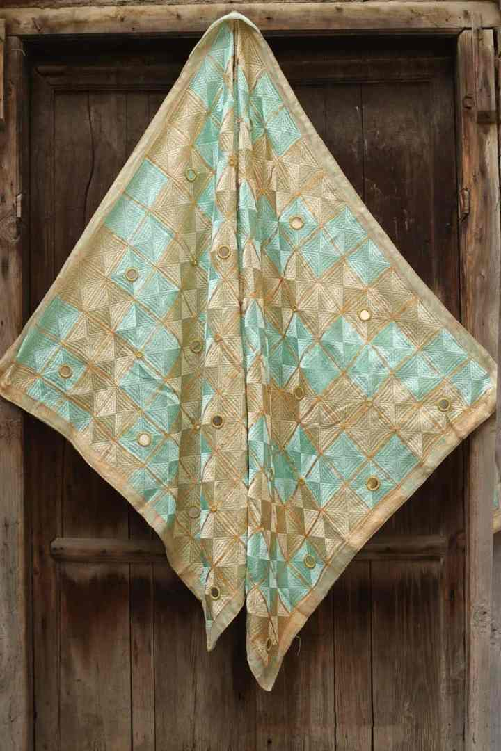 Baby Blue Light Peanut Color Phulkari 1