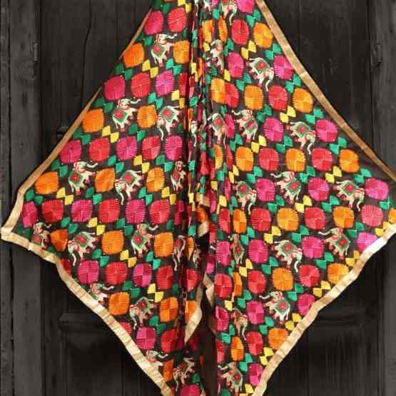 Black Multi Color Phulkari