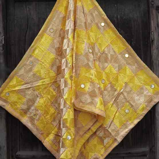 Yellow Light Peanut Color - Mirror Work Phulkari