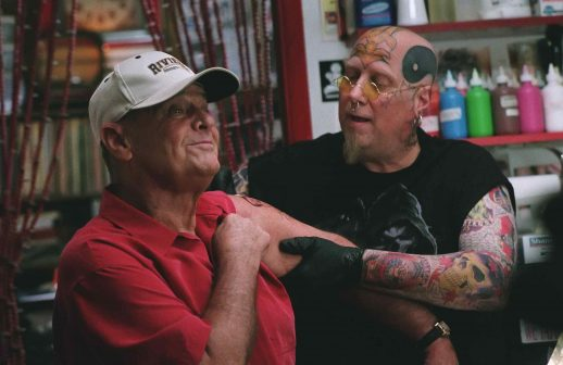 """JACK NICHOLSON as Edward and JORDAN LUND as the tattoo artist in Warner Bros. Pictures' comedy drama """"The Bucket List."""" The film also stars Morgan Freeman.  PHOTOGRAPHS TO BE USED SOLELY FOR ADVERTISING, PROMOTION, PUBLICITY OR REVIEWS OF THIS SPECIFIC MOTION PICTURE AND TO REMAIN THE PROPERTY OF THE STUDIO. NOT FOR SALE OR REDISTRIBUTION."""