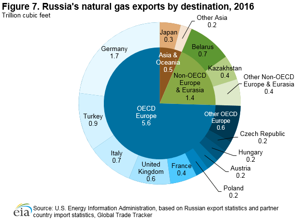Figure 7. Share of Russia's natural gss exports by destination, 2014