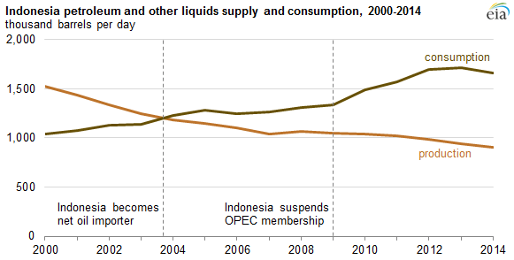 graph of Indonesia petroleum and other liquids supply and consumption, as explained in the article text