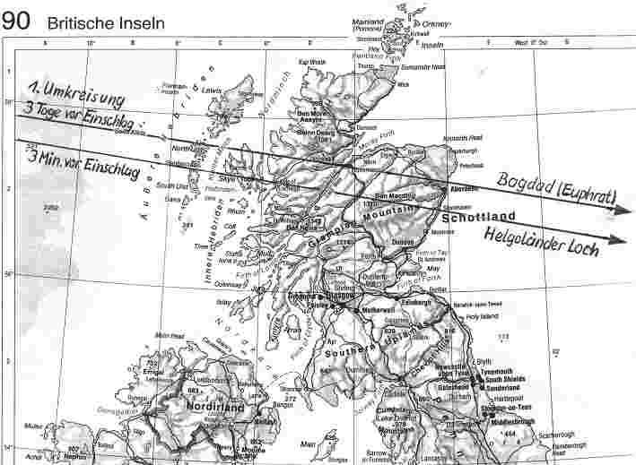 Phaéthons Überfluggebiete über Schottland