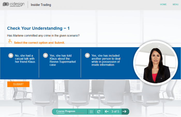 Online Compliance Training - Insider Trading Level 1 - 3