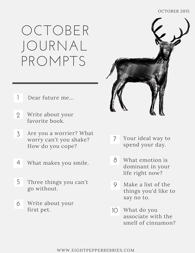 Monthly Journal Prompts from Eight Pepperberries blog >> October Journal Prompts Printable PDF
