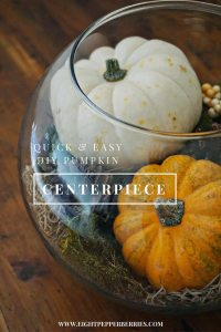 Eight Pepperberries blog >> 10 minute DIY pumpkin centerpiece. Can transition from the first day of fall all the way through Thanksgiving!
