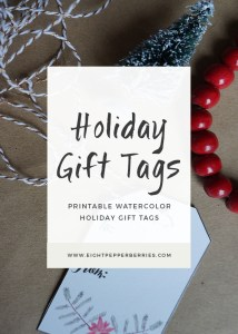 Free Printable Watercolor Holiday Gift Tags >> Eight Pepperberries