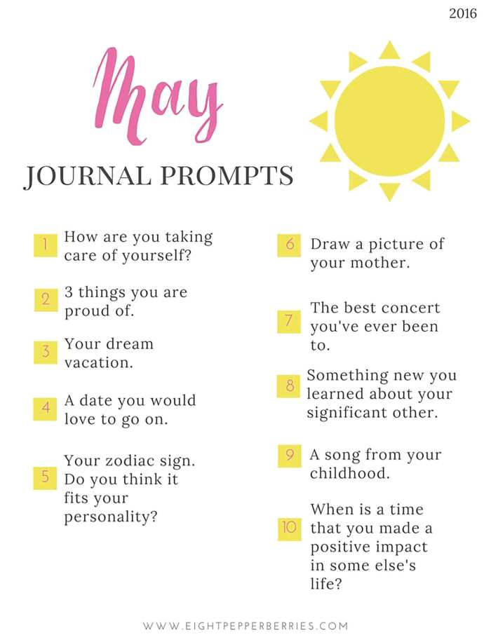 May Journal Prompts. New prompts [pdf printable included] each month >> Eight Pepperberries