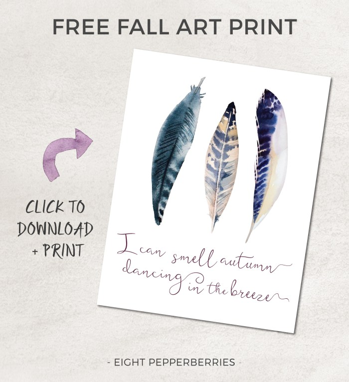 FREE FALL ART PRINT    I can smell autumn dancing on the breeze >> Eight Pepperberries
