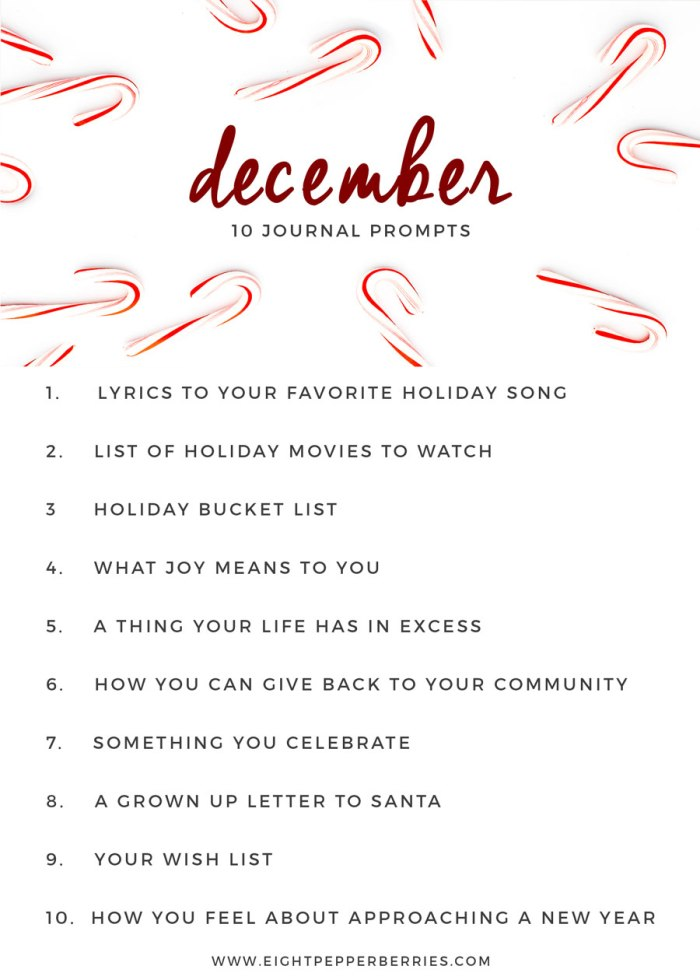 December 2016 Journal Prompts. New prompts released the beginning of each month >> Eight Pepperberries blog