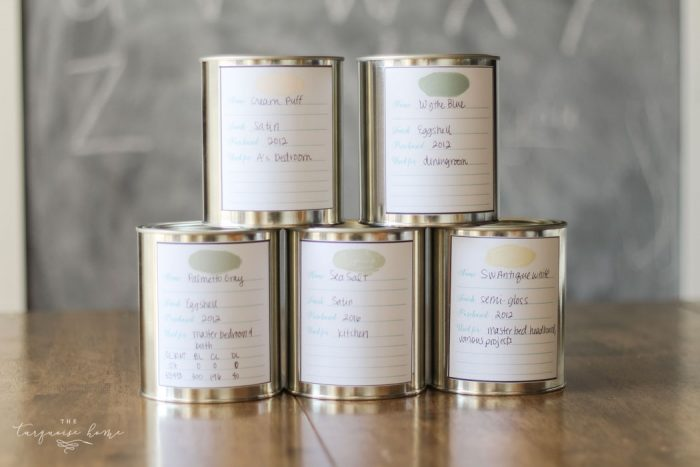 Organized Paint Storage: Printable Paint Can Labels by The Turquoise Home featured on Totally Terrific Tuesday hosted by Eight Pepperberries