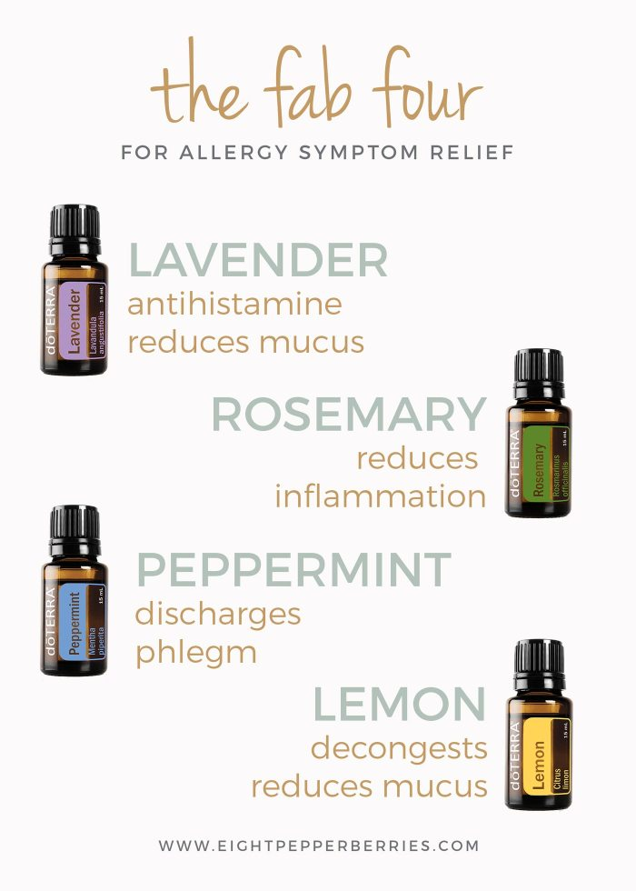 Allergy Relief With Essential Oils, the fab four most commonly use essential oils to relieve seasonal allergy symptoms >> Eight Pepperberries