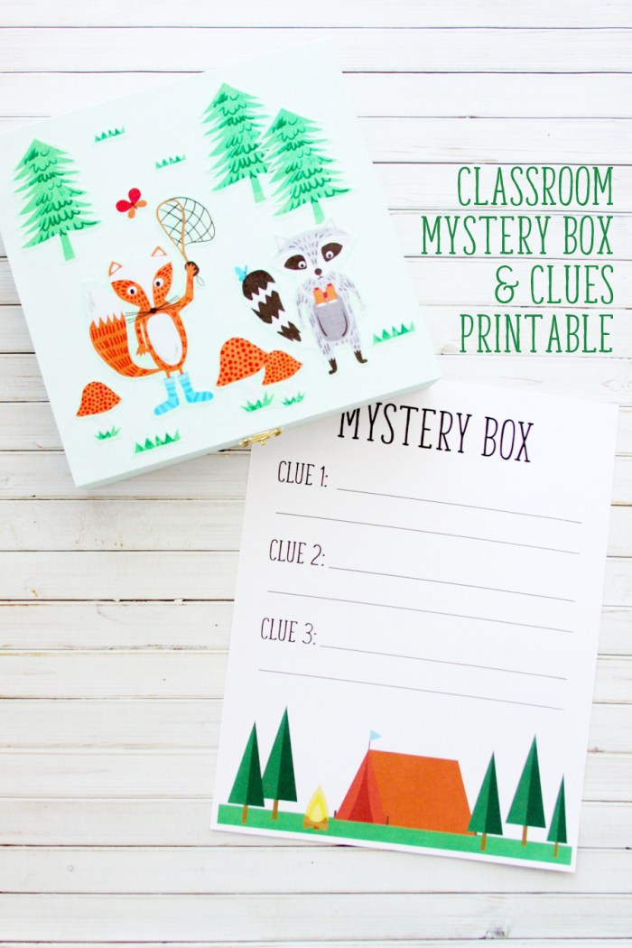 Printable Classroom Mystery Box Clue Sheet by Flamingo Toes featured on Totally Terrific Tuesday hosted by Eight Pepperberries