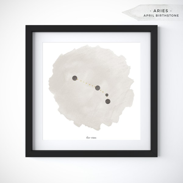 Aries (March 21 - April 19) Constellation Art Print Personalized With Birthstone Color by Eight Pepperberries
