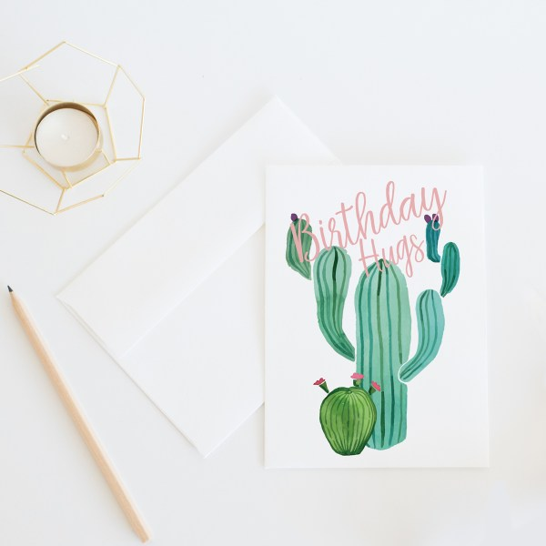 Birthday Hugs || Birthday card by Eight Pepperberries || Printable PDF version available