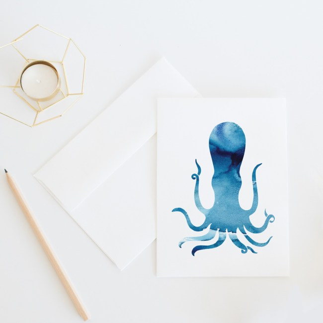 Blue Octopus Card || Send some fun snail mail with this everyday card by Eight Pepperberries