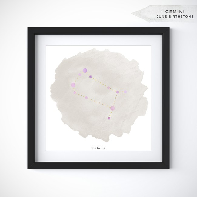 Gemini (May 21 - June 20) Constellation Art Print Personalized With Birthstone Color by Eight Pepperberries