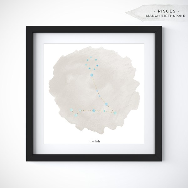 Pisces (February 19 - March 20) Constellation Art Print Personalized With Birthstone Color by Eight Pepperberries