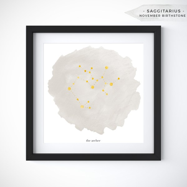 Saggitarius (November 22 - December 21) Constellation Art Print Personalized With Birthstone Color by Eight Pepperberries