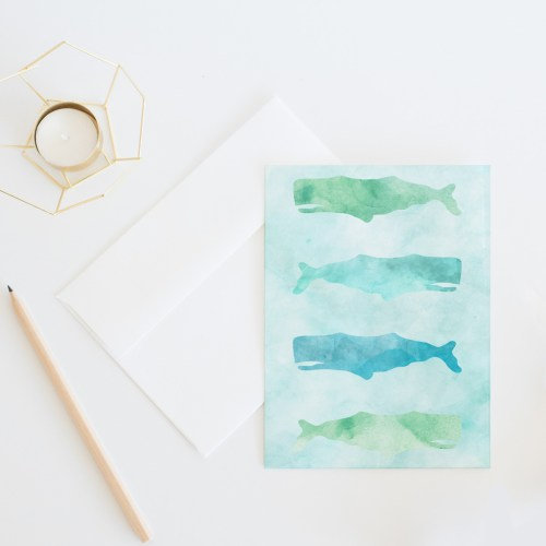 Watercolor Whales Card || Send some fun snail mail with this everyday card by Eight Pepperberries