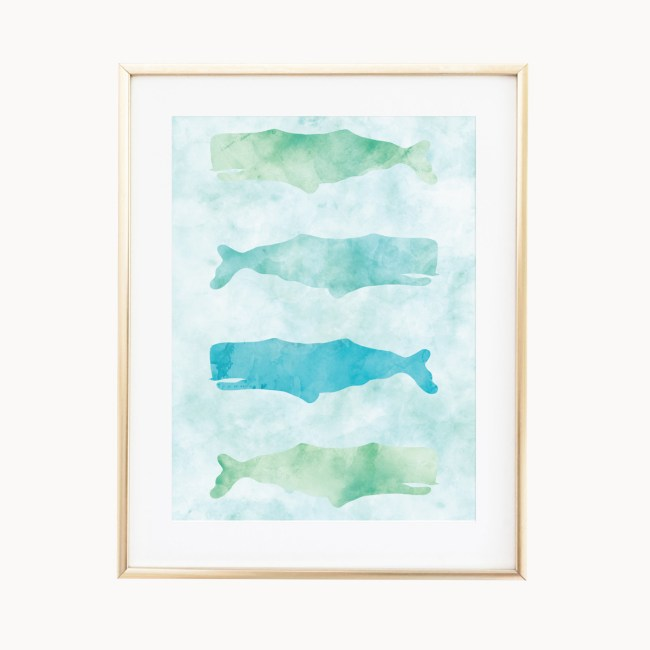 Delicate, calming, colors featuring giant whales swimming the ocean waters. Ocean Whales art print by Eight Pepperberies, Available in 3 sizes: 4x6, 5x7, 8x10.