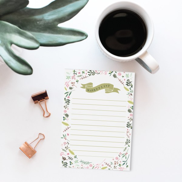 """Floral Market List Notepad 