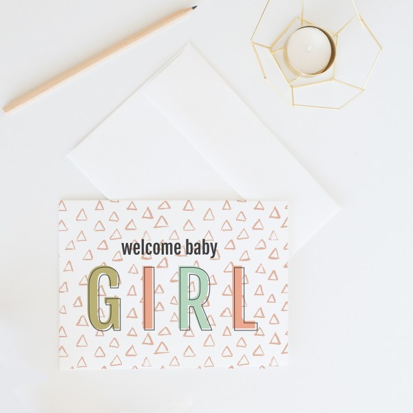 Welcome Baby Girl Card || Send some lovely snail mail with this sweet baby shower card by Eight Pepperberries