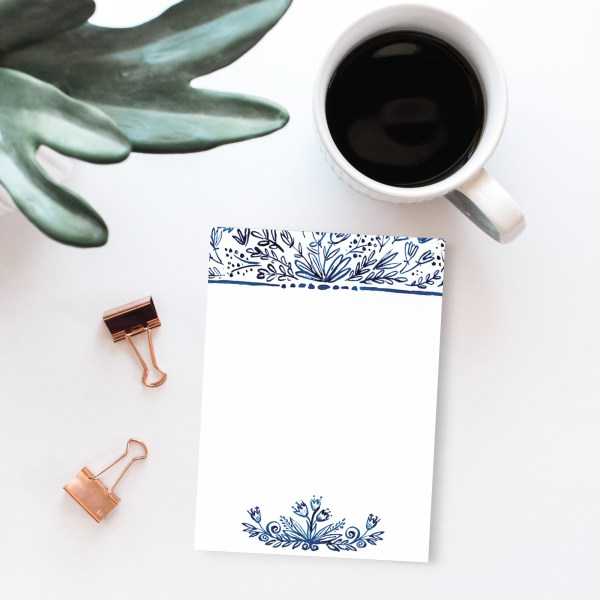"Indigo Floral Notepad || 50 Sheets || 4x5.5"" Size 