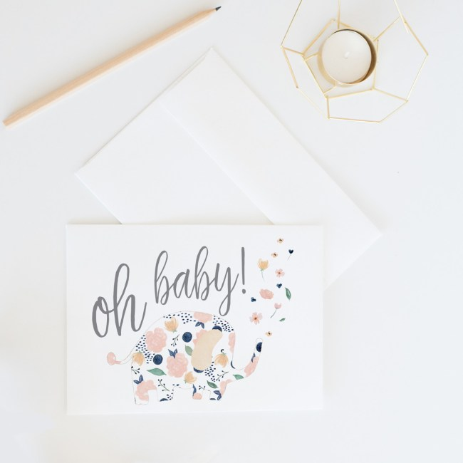Oh Baby! Floral Elephant Card    Send some lovely snail mail with this sweet baby shower card by Eight Pepperberries