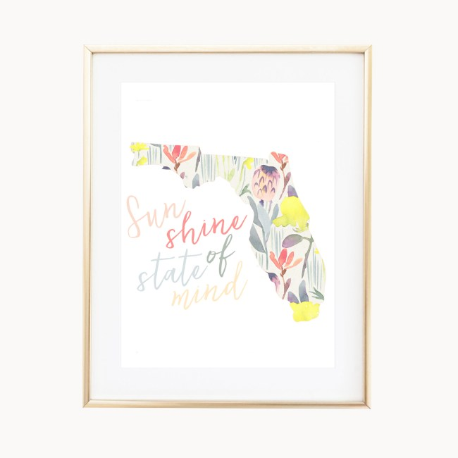 Sunshine State Of Mind Art Print by Eight Pepperberries Paperie    Available in: 5x7, 8x10    $5 from each sale donated to Waves For Water