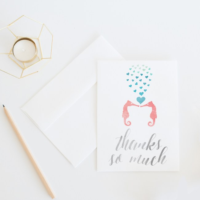 Seahorse Love Thank You Card || Send some whimsical snail mail with this ocean inspired thank you card by Eight Pepperberries