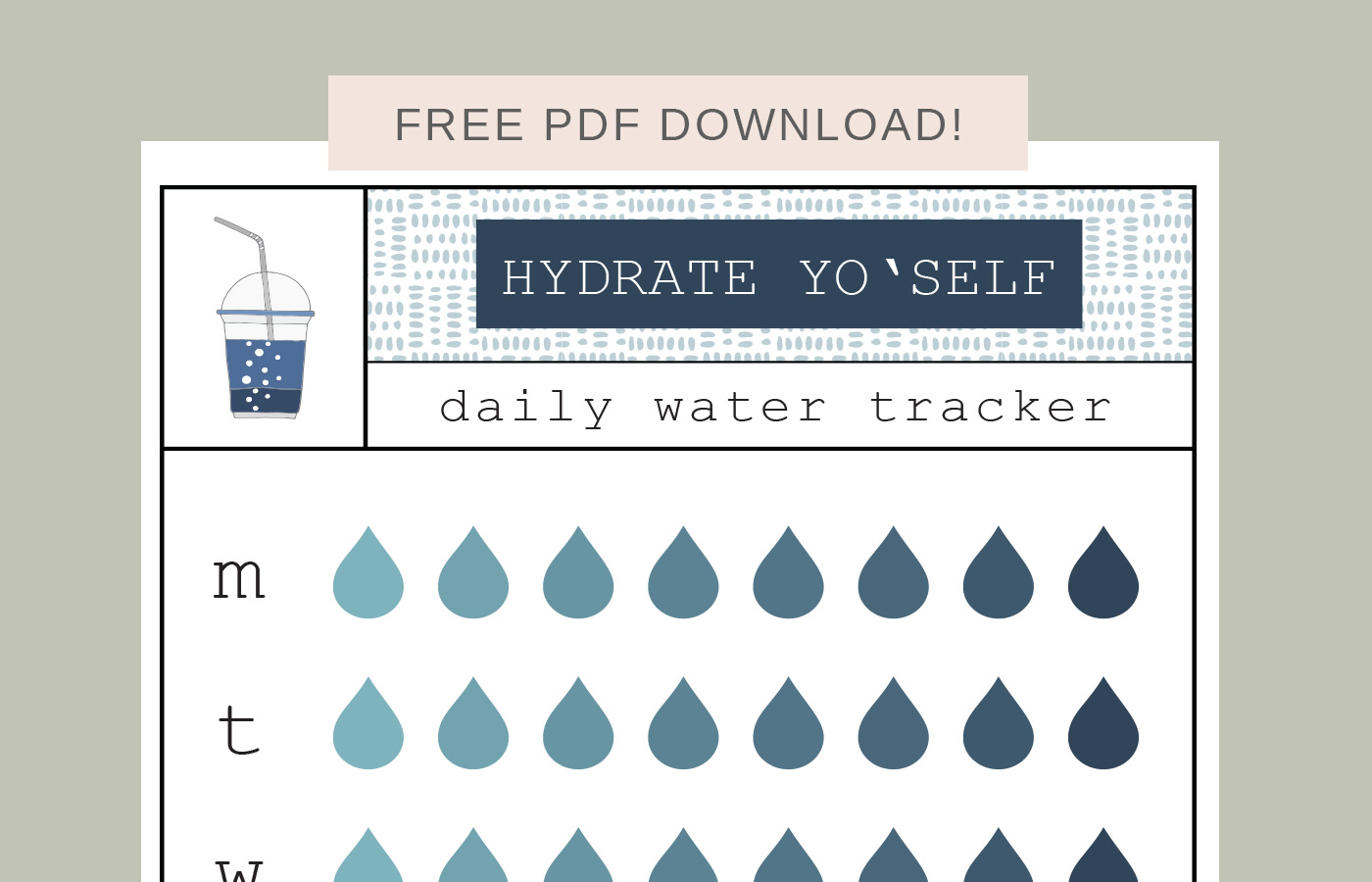 photo relating to Printable Water Tracker identify Hydrate Yo Self (printable h2o tracker) » 8 Pepperberries