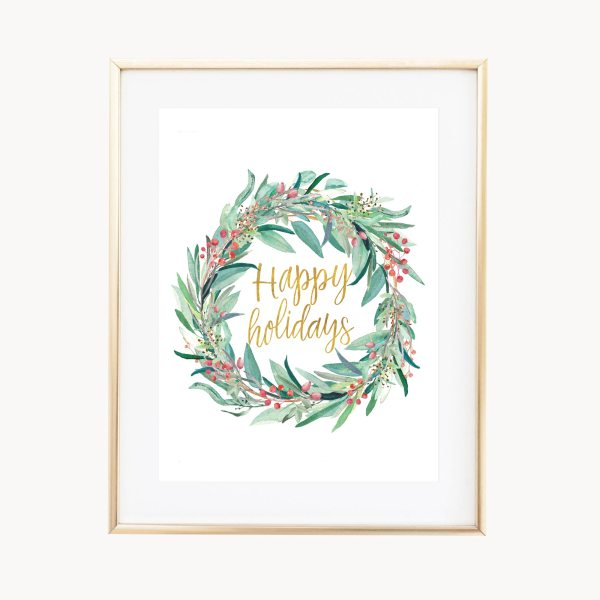 "In the air there's a feeling of Christmas! Celebrate the beauty of the holiday season with this winter art print featuring an illustrated eucalyptus wreath adorned with berries and the phrase ""Happy Holidays"" written in a gold script font. Makes a great hostess gift for those who adore the Christmas season!"