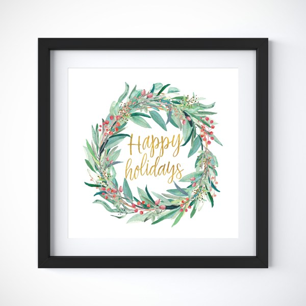 Happy Holidays Wreath|| A whimsical art print celebrating the Christmas season featuring an illustrated eucalyptus wreath and berries >> Eight Pepperberries