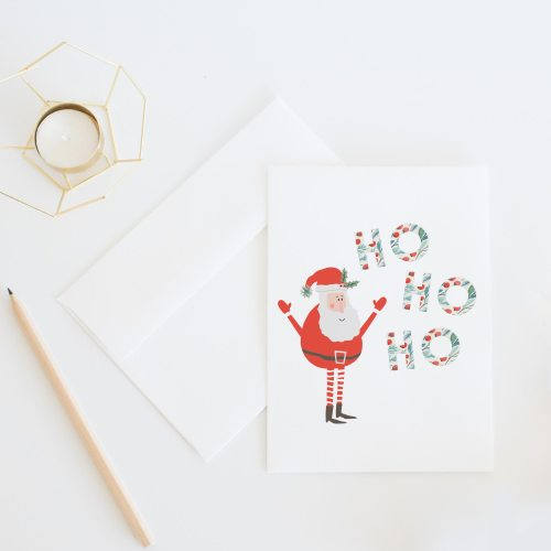 Hohoho Santa || A whimsical Christmas card illustrated with jolly Saint Nick and botanical Christmas letters. Sold individually or as a set of 8 >> Eight Pepperberries