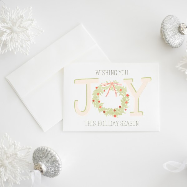 Wishing You Joy This Holiday Season || A whimsical Christmas card illustrated with a wreath and berries. Sold individually or as a set of 8 >> Eight Pepperberries