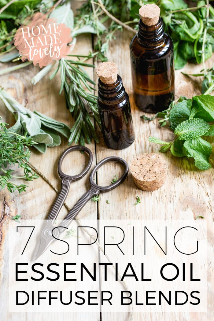 7 Spring Essential Oil Diffuser Blends by Handmade Lovely at the Totally Terrific Tuesday Link Party hosted by Eight Pepperberries